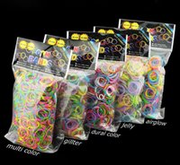 Cheap Loom Bands Glitter Jelly Glow in the dark  Dual Color Multi Color Rubber Bands Loom Band Wrist Bracelet (600 bands + 24 clips)