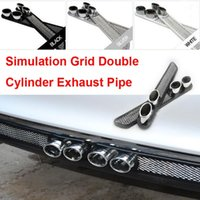 auto grid - New Car Styling cm cm Colors Simulation Grid Double Cylinder Exhaust Pipe Auto Decorative Tail Pipe Sticker