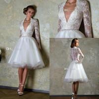 wedding dresses long sleeved - Sexy White Lace Applique Deep V Neck A Line Wedding Dresses Chiffon Knee Length Short Dress Long Sleeved Gown Dress