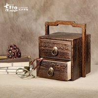 antique sewing boxes - New Chinese style wood box antique jewelry double withdrawable type restoring ancient ways to receive sewing box