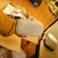 Wholesale Sparkling Shining Silver Crystal Rhinestone Bridal Hand Bags Bridal Clutch Women Evening Party Handbags With Chain Bridesmaid Bags