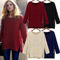 Wholesale Women s Clothing Popular New Fashion Women Knitted Pullover Jumper Loose Sweater Zipper Knitwear