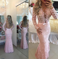 Cheap Baby Pink 2015 Evening Dresses Lace Long Sleeves 2016 Prom Gowns Sheer Backless Charming V Neck Floor Length Custom Made