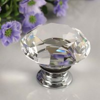 Wholesale Diamond Clear Crystal Glass Door Pull Drawer Knob Handle Cabinet Furniture