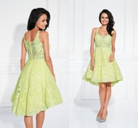 beauty cocktail - 2016 Beauty Short Party Cocktail Dresses Green Lace Graduation Dress Appliques Pleated High Low Prom Evening Gowns Dresses for Girls