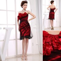 dresses uk - 2016 New Arrival Strapless Hand made Flowers Black Tulles Red Taffeta Club Wear Mini Legth Party Dresses Sexy Customization UK