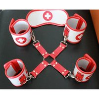Cheap 2015 NEW Nurse Role Play Erotic Sexy Kit Hand & Ankle cuffs & Mask Bondage Fetish Restraint Set Sex Products toys for adult