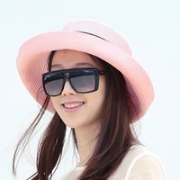 Wholesale 2016 Sun Hat Women Ladies Brim Hat Floppy Summer UV Protection Beach Hat Straw Hat Dome Cap Outdoor Travel Casual Foldable Headwear Color