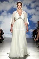 beautiful jenny - Beautiful Plus Size Wedding Dresses Jenny Packham Spring Empire Waist Beaded Chiffon For Chubby Bridal Gowns With Cape Maternity Dress