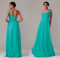 Wholesale Elegant One Shoulder Flower Chiffon Bridesmaid Dresses from Eiffelbride with Embellished Pick ups Stunning A Line Empire Evening Gowns