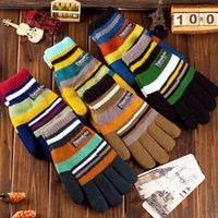 Wholesale Factory outlets new listing striped men s fingers warm knitted gloves thick gloves