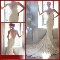 brides made - Sexy perfect Lace Wedding Dresses Bridal Gowns Mermaid V Neck Chapel Train Lace Tulle Beads Foraml Bride Dresses W0731
