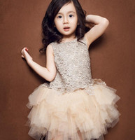 american trumpet - baby girl kids lace tutu dress crochet tulle dress Water soluble flowers Korean fashion champagne dress baby birthday party beige dresses