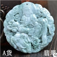Cheap big size green jade round Avalokitesvara on Elephant pendant charms happy meaning jewelry online wholesale jewellery accessories
