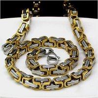 Al por mayor - el bling brillante acero inoxidable 316L pulido de alto eslabón de la cadena bizantina del collar de 2 toneladas de los hombres 22inch 7mm