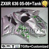 venda por atacado 2001 kawasaki zx6r fairings-7Gifts + Tank Cover para a Kawasaki verdes prateadas 2005 2006 Ninja ZX 6R 636 gratuito personalizado M9160 chamas verdes ZX636 ZX6R ZX-6R 05 06 Kit Carenagem