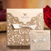 Wholesale Sale Wedding Invitation Card - Hollow Out 3d 50sets Laser Cutting Flower Wedding Invitations Cards Sales Ribbon with Envelope Sealed Card