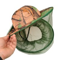 Printed anti insect net - 15pcs Camouflage grassland anti mosquito net outdoor fishing hat Beekeeping Hat Flying Insects Prevention Cap Bucket Hat Mesh cap