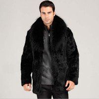 Wholesale 2015 new warm imitation mink fur coat fox fur collar male Haining fur coat and long sections genuine black