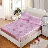 Wholesale summer bedding mat kit ice silk mat three piece set viscose fiber mat folding double thickrattan mat