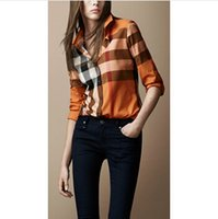 designer shirts - High Quality Classical Women Top Brand Designer Long Sleeve Big Plaid Casual shirts OL Fit Plaid Tops Blouse M XXL