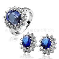 Wholesale Luxury large gemstone rings earrings piece Princess love luxury accessories brand alloy trinkets