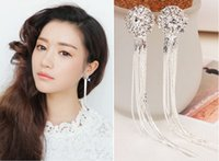 modern jewelry - Modern Jewelry Crystals Women Earring Rhinestone Long Summer Tassels Silver Wedding Accessories Party Formal Shiny Drop Dangle Earrings
