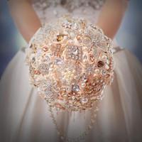 Cheap 2015 Hot Sale Wedding Bridal Bouquets Crystal Pearls Wedding Supplies With Handmade Satin Rose Rhinestone Bride Holding Brooch Bouquet