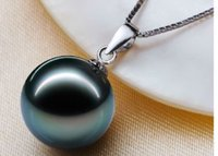 Wholesale stunning mm south sea BLACK pearl pendant necklace