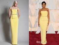 Cheap Yellow Simple Prom Dress Sheath Peplum Evening Dresses Sash Modest Runway Wear Strapless Sleeveless Satin Backless Floor Length High Class