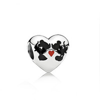 Animals animal charms - Pandora charm Disne Minnie Mickey Kiss Charm New Sterling Silver Charms European Bracelet DIY Jewelry AC3473