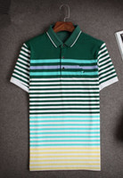 Wholesale 2015 new men s summer cotton short sleeved polo shirt size Pinstripe loose half sleeve T shirt Lapel business