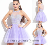 aqua tulle - 2015 New Arrival Halter Short Homecoming Gown Sequins A Line Backless Lilac Aqua Tulle Graduation Dress Custom Made Sheer Neck For Sweet