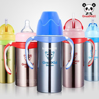 Wholesale Mother baby wide caliber stainless steel thermal bottle insulation bottle straw cup with handle baby bottle