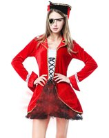 costume d'Halloween pour les femmes Pirate Costume Light-Up Captain Hook Line Et robe coaplay Sinker Costume Pirate O28031 rouge