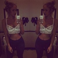 Cheap Wholesale-2015 Womens Summer Beach Wear Sexy Lace Bustier Crop Tops Tank Blouse Vest Cut Out Tee Blusa De Renda