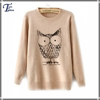 womens jumpers - Womens Jumpers Fashion Brand New Casual Knitwear Spring Winter Desigual Apricot Long Sleeve Owl Animal Print Knit Sweater