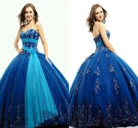 Wholesale 2015 New Style Ball Gown Vintage Strapless Plus size Appliqué Royal Blue Quinceanera Dresses with Wrap Backless Floor Length Satin Beaded