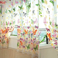 Wholesale New Art Curtain Flowers Butterfly Printed Tulle Voile Door Window Balcony Sheer Panel Screen Curtain Home Decoration x100cm Sale SV008048