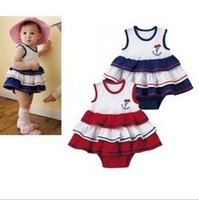 baby marine clothing - Baby clothes clothing sleeveless jumpsuit romper baby cotton bag skirt marine wind