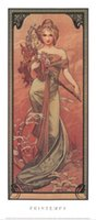 Oil Painting alphonse mucha canvas - Decorative Art Printemps by Alphonse Mucha oil painting Canvas High quality Hand painted