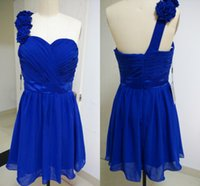Cheap Short Knee-Length Chiffon Royal Blue Bridesmaid Dresses 2015 One Shoulder Handmade Flowers Ruched Prom Gowns LAN0818