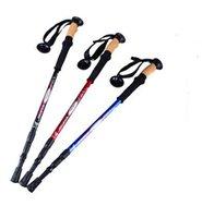 Wholesale Straight Grip Cork Handle section telescopic Trekking Poles Aluminium Alloy walking Cane hiking climbing stick