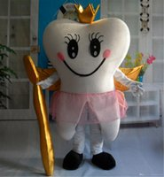 Wholesale with one mini fan inside the head RH0414 adult smile tooth angle mascot costume for adult to wear