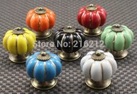Wholesale Pumpkin Knobs Europe Ceramic Door Cabinet Cupboard Handles Pull Drawer