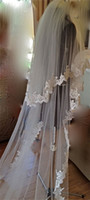 Wholesale 2 Layers Applique Edge Meter Long Wedding Cathedral Veil Bridal Veils Custom Classic Designer White Ivory Tulle