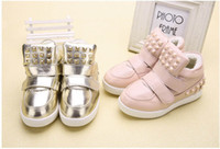 Wholesale 2015 Spring fashion new casual baby shoes rivet Golden Girls and Boys Kids Children s Winter flats sports shoes sneakers e