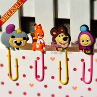 bear binder - Cute Masha The Bear colorful bookmark school stationery office supply paper clips Metal Binder Clips Memo clips Kids Sweet Gifts