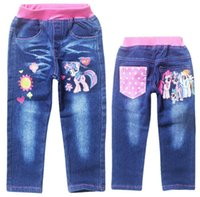 Wholesale New my little pony jeans pants for girls fashion children kids cartoon my little pony denim pant casual trousers for spring and autumn
