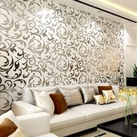 Wholesale New Wallpaper Modern PVC D Silver Wall Paper Roll For Wall TV Sofa Background Living room Bedroom R79